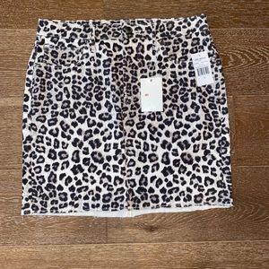 Good American Leopard Raw Edge Mini Skirt Sz  12